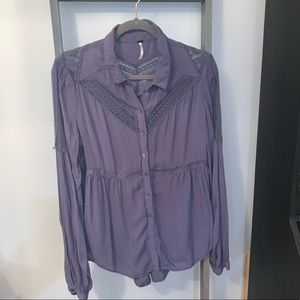 Free People Purple Blouse with Lace Detail